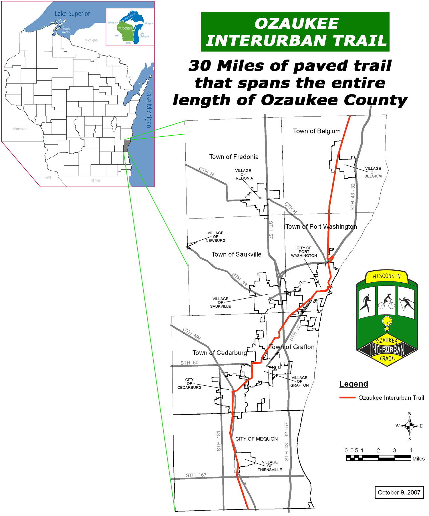 Interurban Trail | Ozaukee County, WI - Official Website on map of shorewood, map of greendale, map of wausau, map of menomonee falls, map of lake geneva, map of superior, map of pewaukee, map of elm grove, map of belgium, map of mukwonago, map of fox point, map of eau claire,