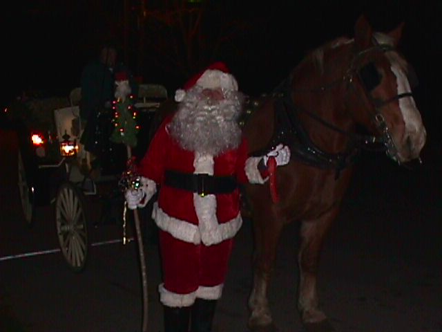 Santa pulling Christmas tree with large horse.