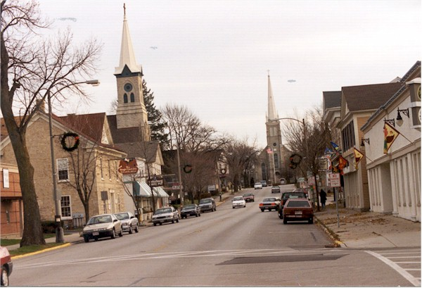 Shot of downtown Cedarburg with St. Francis Church