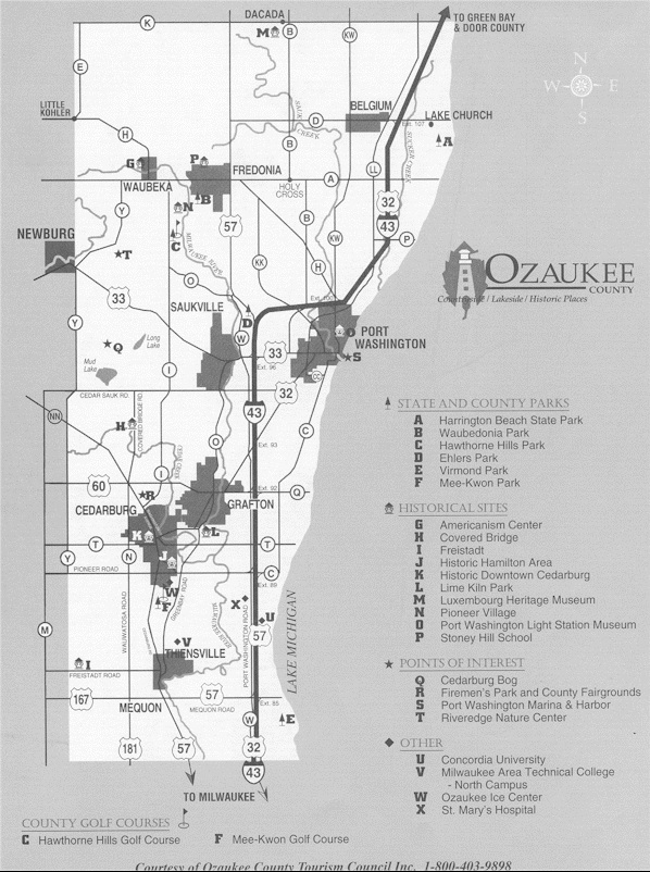 Ozaukee County Tourism Map