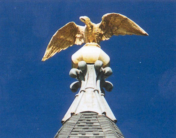 Eagle at the top of the courthouse.