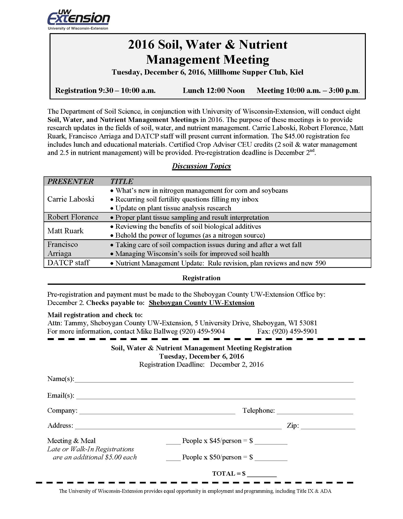 2016 Soil Water and Nutrient Management Registration Form