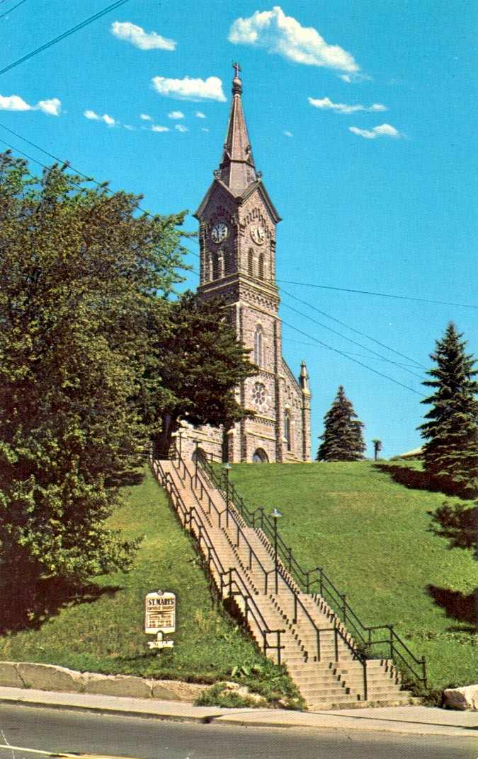 St. Mary's Church view from the bottom of stair case.