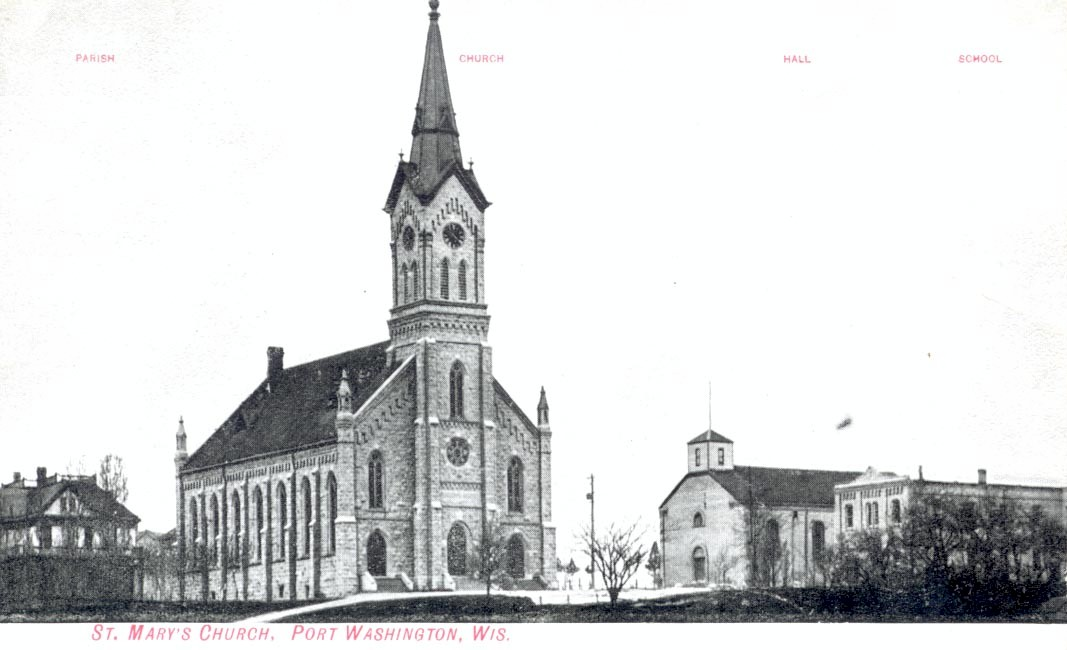 Black and white photo of St. Mary's Church.