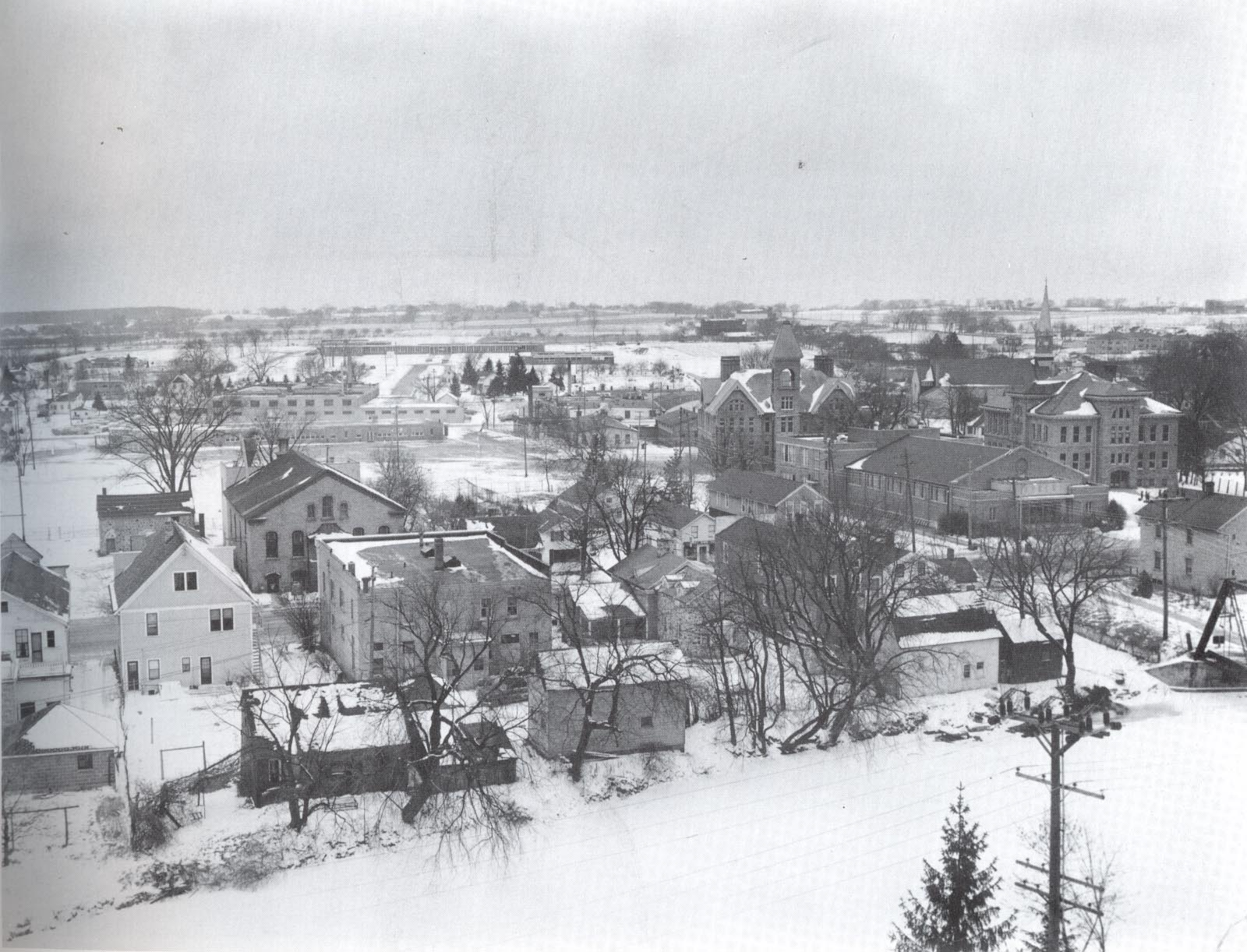 This view from the tower of the old firehouse shows the heart of downtown Cedarburg and a few new additions to the west.