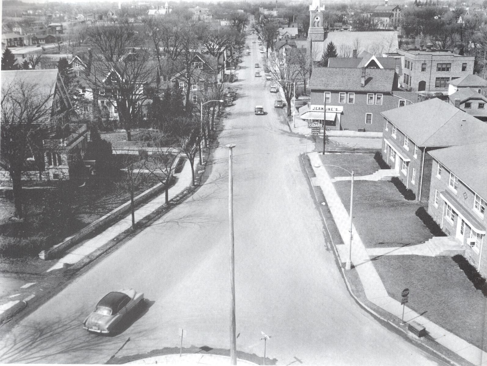 View from the steeple of St. Francis Borgia church looking north along Washington Avenue.