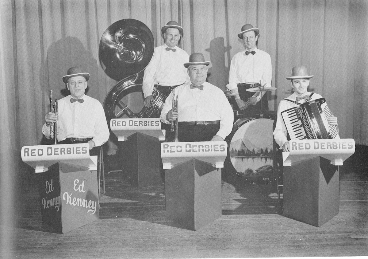 The Red Derbies Dance Band with their instruments.